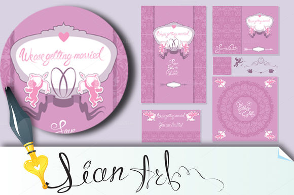 Set Of Wedding Invitation Cards by Lian-art is available from CreativeMarket for $5.