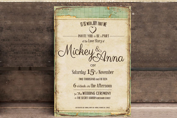 Vintage Journey Wedding Invitation by KlapauciusCo is available from CreativeMarket for $10.