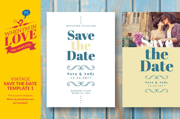 Vintage Save The Date Template by WhenImInLove is available from CreativeMarket for $7.