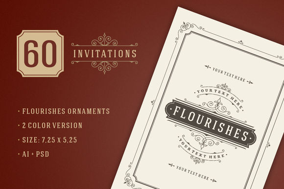 Vintage Ornament Invitations by VasyaKobelev is available from CreativeMarket for $20.