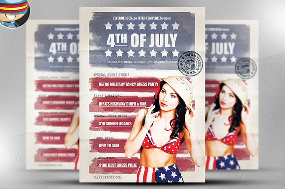 Vintage 4th July Flyer Template by FlyerHeroes is available from CreativeMarket for $9.
