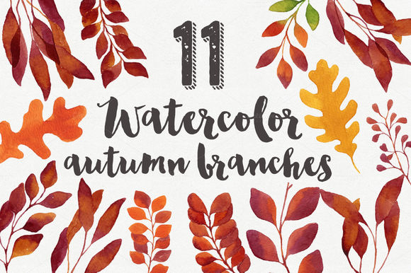 Watercolor Autumn Branches by HelgaWigandt is available from CreativeMarket for $8.