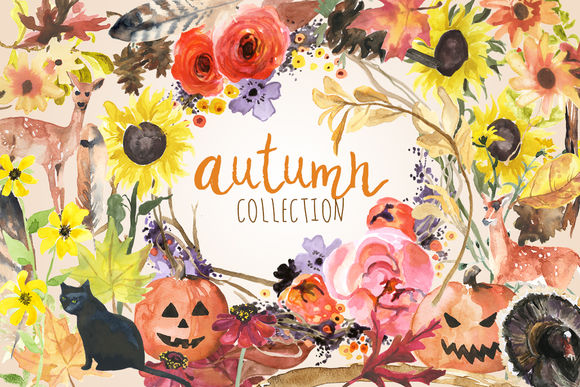 Watercolor Autumn Collection by DigitalPressCreation is available from CreativeMarket for $45.