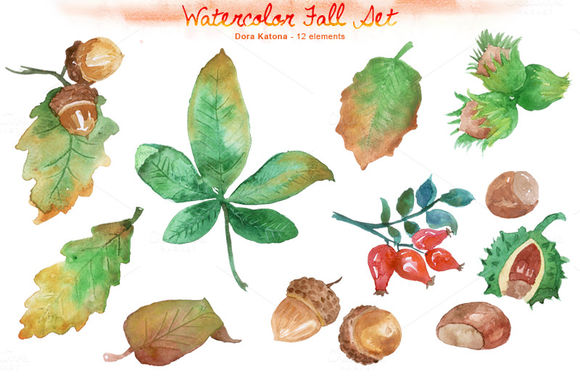 Watercolor Fall Set by DoraKatona is available from CreativeMarket for $6.