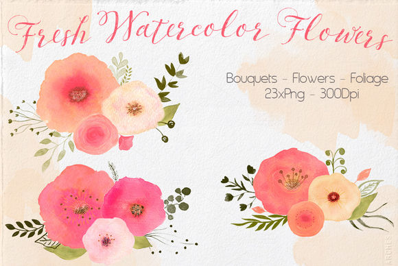Watercolor Fresh Flowers by Lizamperini is available from CreativeMarket for $8.