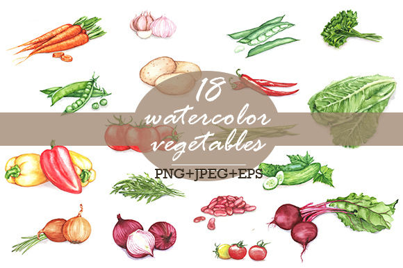Watercolor Vegetables by AnastasiaNio is available from CreativeMarket for $15.