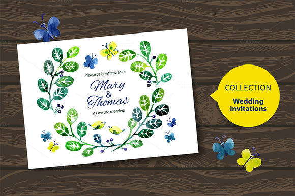 Watercolor Wedding Invitation Vector by ElenaPimonova is available from CreativeMarket for $4.