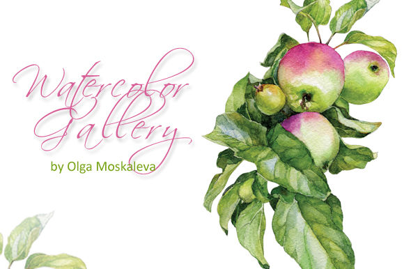 Watercolor Apple Twig by OlgaMoskaleva is available from CreativeMarket for $5.