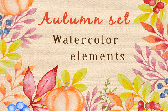 Watercolor Autumn Design Kit by Artspace is available from CreativeMarket for $12.