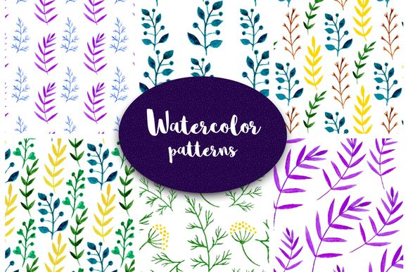 Watercolor Foliage Patterns by Worldion is available from CreativeMarket for $6.