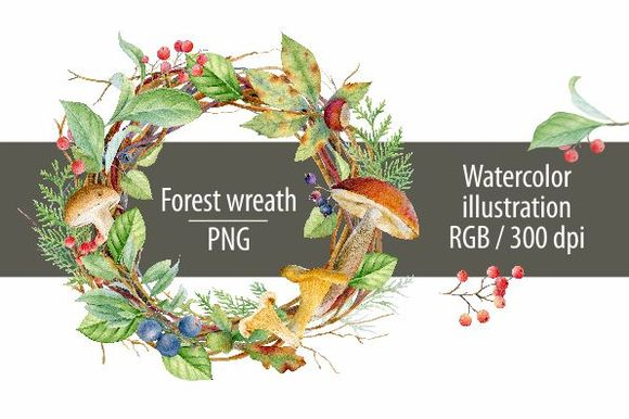 Watercolor Forest Wreath by SvetlanaBakaldina is available from CreativeMarket for $7.