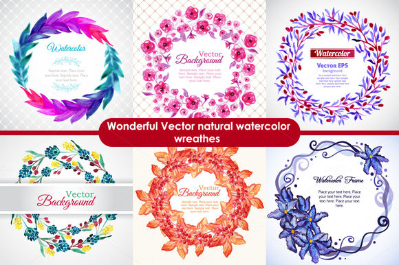 Watercolor Nature Wreathes by AnaWhite is available from CreativeMarket for $5.