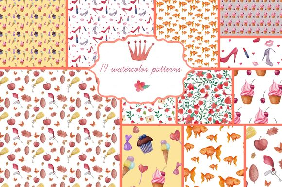 Watercolor Patterns Set by Eisfrei is available from CreativeMarket for $6.