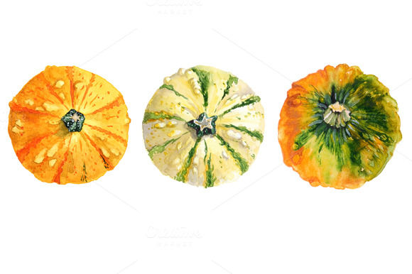 Watercolor Pumpkins by Lilisavelieva is available from CreativeMarket for $15.