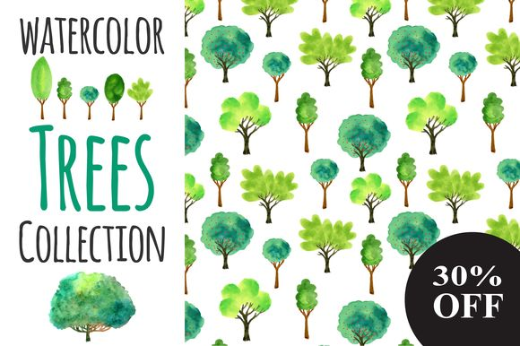 Watercolor Trees Collection by Worldion is available from CreativeMarket for $8.