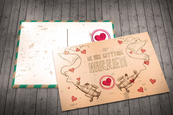 Wedding Invitation Postcard by IB is available from CreativeMarket for $7.