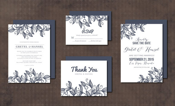 Wedding Invitation Suite Leaves by Aticnomar is available from CreativeMarket for $15.