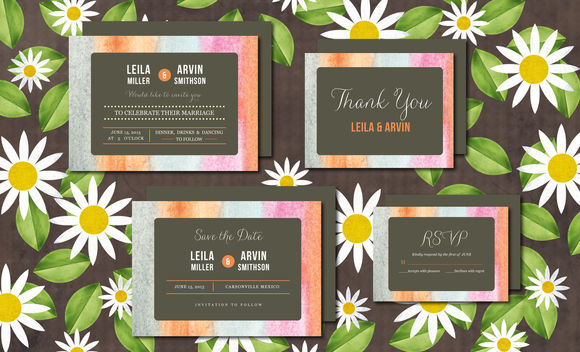 Wedding Invitation Suite Watercolor by Aticnomar is available from CreativeMarket for $15.