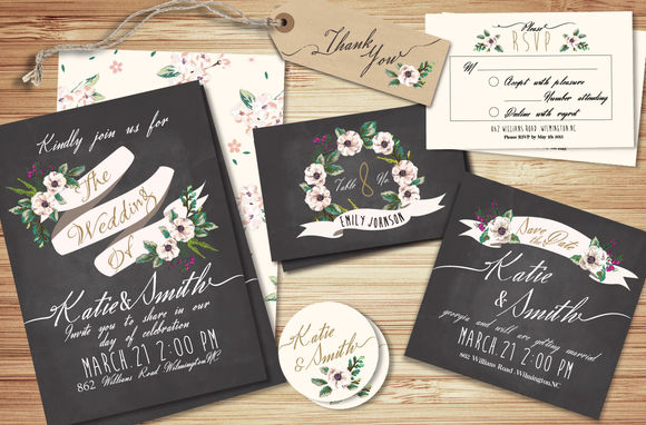 Wedding Invitation Suite Templates by GraphicBox is available from CreativeMarket for $18.