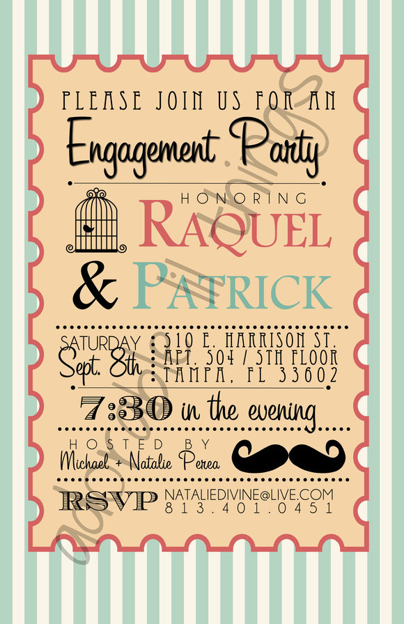 Whimsical Engagement Party Invite by Adorablelilthings is available from CreativeMarket for $5.