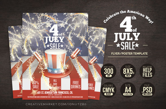 4th JULY USA Poster by IB is available from CreativeMarket for $7.