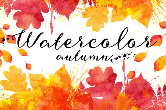 170 Beautiful Autumn Fall Watercolor Graphic Elements