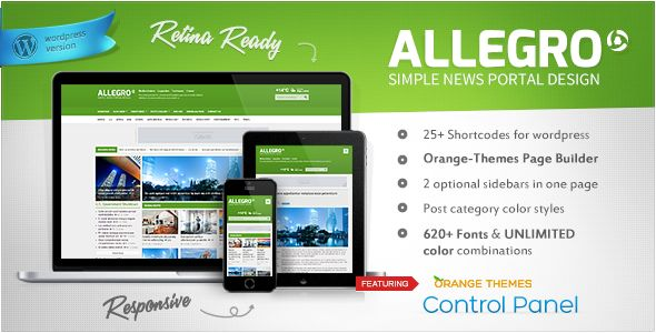 Allegro by Orange-themes is a news magazine WordPress theme which features one page layouts, fully responsive layouts, search engine optimization, Google Fonts support, Revolution Slider, clean design, magazine style layouts, blogging related layouts and optimizations, flat design aesthetics and minimal design.