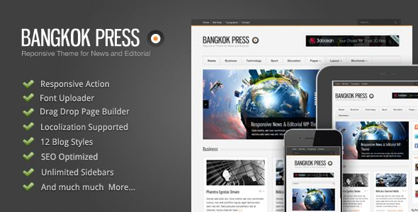 Bangkok Press by GoodLayers is a news magazine WordPress theme which features fully responsive layouts, search engine optimization, Revolution Slider, clean design, can be used for your portfolio and magazine style layouts.
