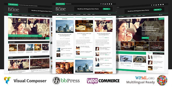 Bzine by WPBootstrap is a news magazine WordPress theme which features Retina display support, support for RTL languages, fully responsive layouts, search engine optimization, Google Fonts support, WooCommerce integration, clean design, Bootstrap framework utilization, magazine style layouts, is great for your personal site and masonry post layouts.