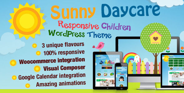 Daycare by ThemePlayers is a educational WordPress theme which features Retina display support, parallax elements, support for RTL languages, one page layouts, fully responsive layouts, search engine optimization, WooCommerce integration, Bootstrap framework utilization and Colorful.