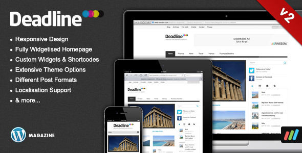 Deadline by Awesem is a news magazine WordPress theme which features fully responsive layouts, clean design, magazine style layouts, is great for your personal site and a grid layout.
