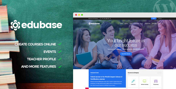 Edubase Course by Opal_WP is a WordPress theme for colleges and universities which features Retina display support, parallax elements, support for RTL languages, Mega Menu, fully responsive layouts, Revolution Slider, WooCommerce integration, clean design, Bootstrap framework utilization, has a portfolio layout option, masonry post layouts and a grid layout.