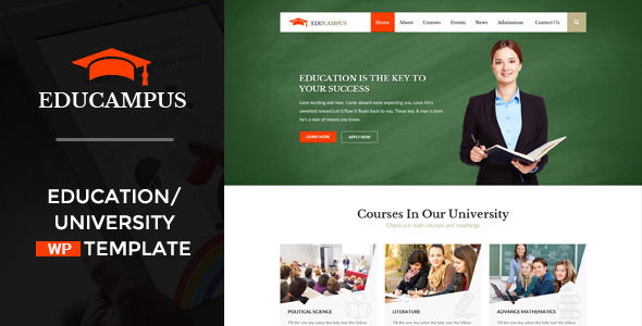 Educampus by WPmines is a educational WordPress theme which features Retina display support, fully responsive layouts, Google Fonts support, Revolution Slider and Bootstrap framework utilization.