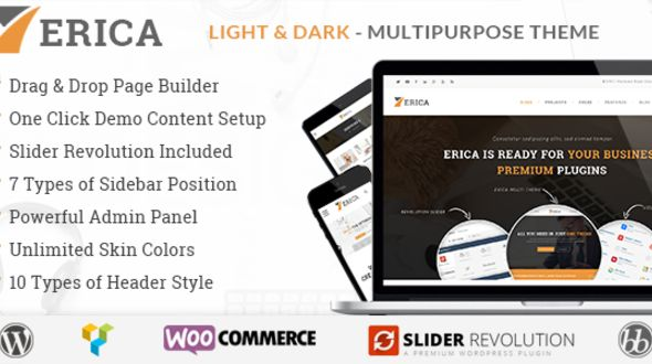 Erica by Kwayy is a great new WordPress theme which features Retina display support, support for RTL languages, Mega Menu, one page layouts, fully responsive layouts, search engine optimization, Revolution Slider, WooCommerce integration, clean design, can be used for your portfolio and corporate style visuals.