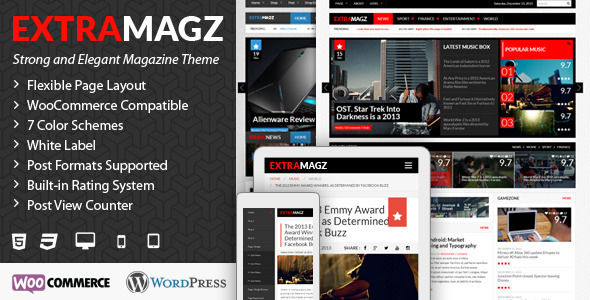 Extramagz by Envalabs is a news magazine WordPress theme which features support for RTL languages, fully responsive layouts, search engine optimization, Revolution Slider, WooCommerce integration, magazine style layouts, flat design aesthetics, masonry post layouts and a grid layout.