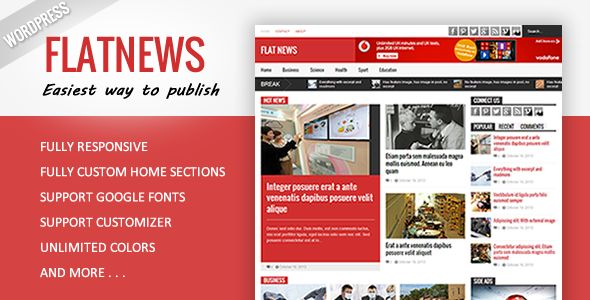 Flat News by Tiennguyenvan is a news magazine WordPress theme which features support for RTL languages, fully responsive layouts, Google Fonts support, clean design, magazine style layouts and flat design aesthetics.