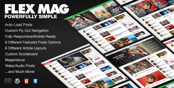 Flex Mag by MVPThemes is a news magazine WordPress theme which features Retina display support, support for RTL languages, Mega Menu, fully responsive layouts, search engine optimization, Google Fonts support, WooCommerce integration, clean design and magazine style layouts.