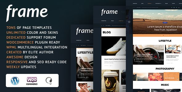 Frame Magazine Responsive WordPress Theme by CRIK0VA is a news magazine WordPress theme which features Retina display support, fully responsive layouts, search engine optimization, Google Fonts support, WooCommerce integration, clean design, support for photo galleries and magazine style layouts.