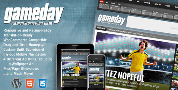 Gameday by MVPThemes is a news magazine WordPress theme which features Retina display support, support for RTL languages, fully responsive layouts, search engine optimization, WooCommerce integration and magazine style layouts.