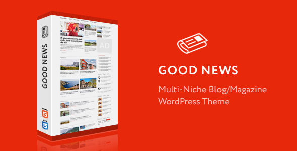 Good News by XplodedThemes is a news magazine WordPress theme which features Retina display support, parallax elements, support for RTL languages, Mega Menu, fully responsive layouts, search engine optimization, Google Fonts support, Revolution Slider, WooCommerce integration, clean design, magazine style layouts, blogging related layouts and optimizations, a grid layout and minimal design.