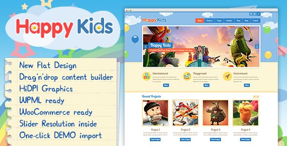 Happy Kids by CreativeWS is a educational WordPress theme which features Retina display support, support for RTL languages, one page layouts, fully responsive layouts, search engine optimization, Google Fonts support, Revolution Slider, WooCommerce integration, clean design, can be used for your portfolio, Colorful and flat design aesthetics.