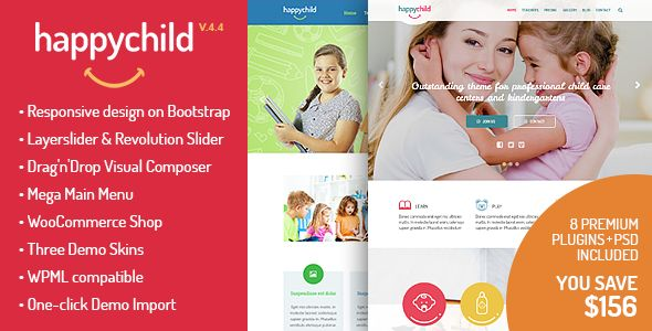 HappyChild by StylemixThemes is a educational WordPress theme which features parallax elements, support for RTL languages, one page layouts, fully responsive layouts, Google Fonts support, Revolution Slider, WooCommerce integration, Bootstrap framework utilization, can be used for your portfolio, masonry post layouts and a grid layout.