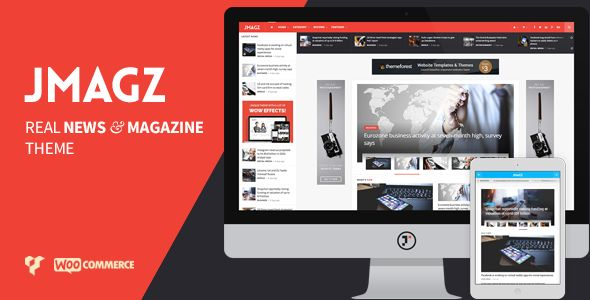 JMagz by Jegtheme is a news magazine WordPress theme which features Retina display support, Mega Menu, one page layouts, fully responsive layouts, search engine optimization, Google Fonts support, Revolution Slider, WooCommerce integration and magazine style layouts.