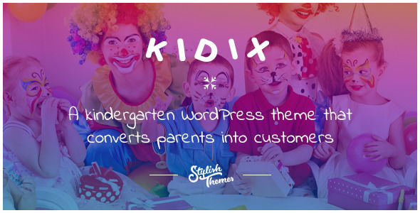 KIDIX by Stylishthemes is a educational WordPress theme which features parallax elements, fully responsive layouts, search engine optimization, Google Fonts support, Revolution Slider, Bootstrap framework utilization and Colorful.
