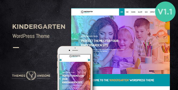 Kindergarten WordPress Theme For Children School by Themesawesome is a educational WordPress theme which features fully responsive layouts, search engine optimization, Google Fonts support, Bootstrap framework utilization and Colorful.