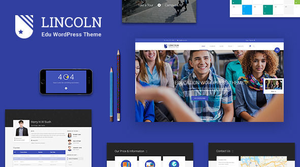 Lincoln by Lunartheme is a WordPress theme for colleges and universities which features Retina display support, parallax elements, support for RTL languages, fully responsive layouts, search engine optimization, Google Fonts support, Revolution Slider, WooCommerce integration, magazine style layouts and a grid layout.