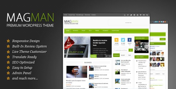 MagMan by Kotofey is a news magazine WordPress theme which features support for RTL languages, fully responsive layouts, search engine optimization, clean design, magazine style layouts, is great for your personal site, blogging related layouts and optimizations and minimal design.