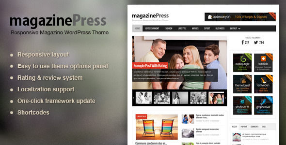 MagazinePress by ThemeWarriors is a news magazine WordPress theme which features fully responsive layouts, search engine optimization and magazine style layouts.
