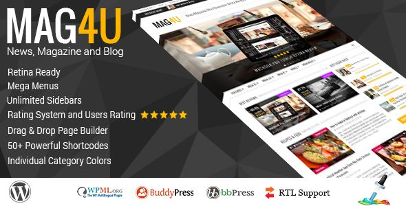 Magu by Serpentsoft is a news magazine WordPress theme which features Retina display support, support for RTL languages, Mega Menu, fully responsive layouts, search engine optimization, Google Fonts support, Revolution Slider, clean design, Bootstrap framework utilization and magazine style layouts.