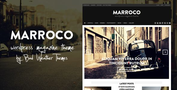 Marroco by Peenapo is a news magazine WordPress theme which features parallax elements, support for RTL languages, Mega Menu, fully responsive layouts, Google Fonts support, Revolution Slider, WooCommerce integration, clean design, magazine style layouts, masonry post layouts and minimal design.